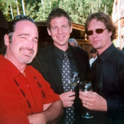 Kyle Comerford, Dan Schwindt and Andrew Vogt relax before a gig with the Jonny Mogambo Band in Telluride, CO, July 2009